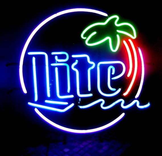 vintage neon miller lite palm tree sign with five brilliant colors. Black Bedroom Furniture Sets. Home Design Ideas