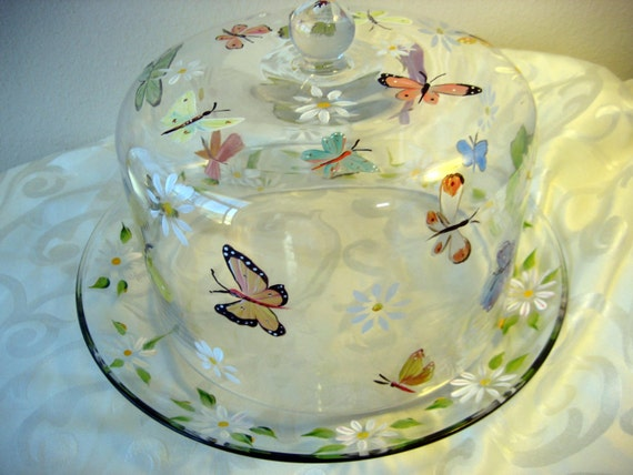Hand Painted Cake Dome Daisies