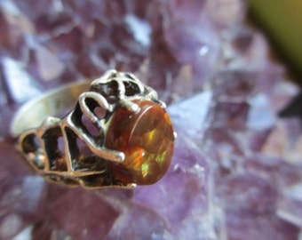 70s Vintage Fire Agate Sterling Ring Biomorphic Mod 7
