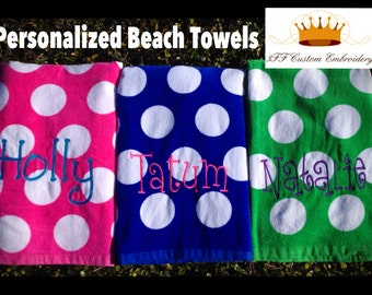 Personalized Velour Beach Towel- Free name or monogram embroidery