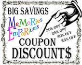 Discount Coupon Savings Off  MemoriesEmporium Printable Digital Collage Sheets Instant Downloads Information Listing