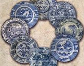 Blue and White China Plates One Inch Circles Inchies Jewelry Pendant Bezels Bottle Caps Buttons Magnets Digital Collage Sheet Download 183