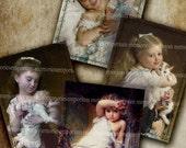 Victorian Children Antique Prints ATC ACEO Size Cute Scrapbook Sentimental  Decoupage Old Dolls Digital Collage Sheet Instant Download 271