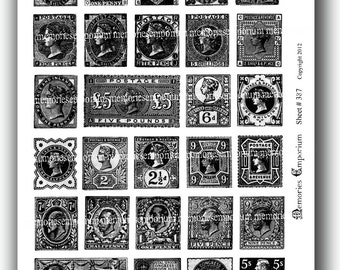 Black and White Postage Stamps England English Great Britain British Shabby Chic Monochrome Antique Decoupage Digital Collage Sheet 387