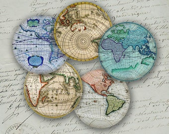 Antique World Globe Maps Earth Continents Hemispheres Vintage Charts 2 inch Circles Collage Sheet Decoupage Sheets Instant Download 035