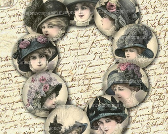 Easter Bonnets French Paris Rounds Fashion Hats Decoupage Circles Compacts 2 Two Inch Digital Collage Sheet Instant Download 063