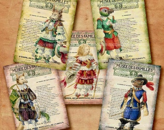 French Childrens Fables Antique Book Page Backgrounds Animal Stories ATC ACEO size Digital Collage Sheet Printable Download 212
