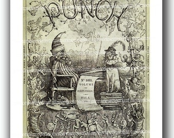 Punch Newspaper Four Old Large Repro Newsprint Pages Decoupage Backgrounds 1860s London Papers Art Print 4 Digital Printable Downloads 434