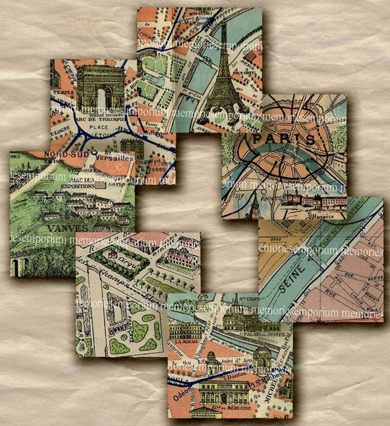 Vintage Paris Street Maps One Inch Squares 1 Decoupage Printable Scrapbook Shabby Chic Inchies Printable Digital Collage Sheet Download 260