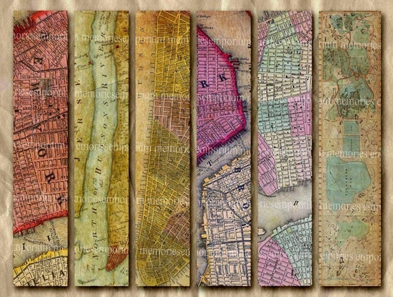 Old New York Street Maps Bookmarks Gift Tag Backgrounds Book