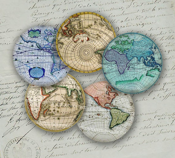 Antique World Globe Maps Earth Continents By Memoriesemporium