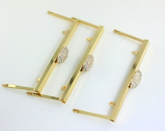 6.5 x 2.5 inches (16.5 x 7cm) - Rhinestone Large Gold Clutch Frame with Chain Loops - 10 Pieces