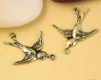 6pcs  Brass Flying Swallow Connector Charm