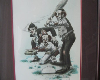 Clown Art by Wayne Howell - LE Signed and Numbered  - Baseball Art