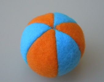 Catnip Ball Cat Toy Turquoise and Orange