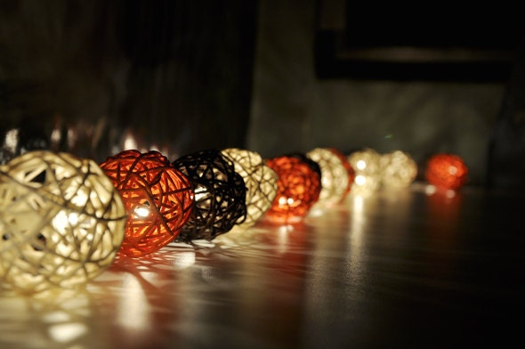 how to make rattan ball string lights