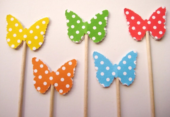 24 Polka Dot Classic Butterfly Party Picks - Cupcake Toppers - Toothpicks - Food Picks - die cut punch FP311