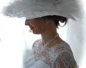 Vintage Wedding Gown - Vintage Wedding Dress - Size 2 with Floppy Lace Hat - Layered Chantilly Lace Wedding Gown