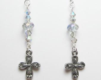Cross Earrings, Swarovski Bicone Elements, Silver Aurora Borealis, Christian Earrings, Long Dangle Earring