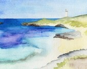 "Coastal Art Print Rottnest Island Perth Western Australia 5""x7"" Watercolour Beach Art"