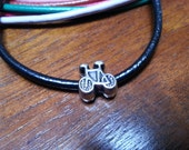 Euro Bicycle Bead and Leather Bracelet  - LBLTHPAN