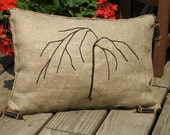"hand embroidered pillow 18"" ( coral, olives, tassels , tree ) - creativedesignsstore"