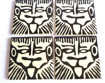 BLACK/WHITE Tribal TILES/ silk screened original