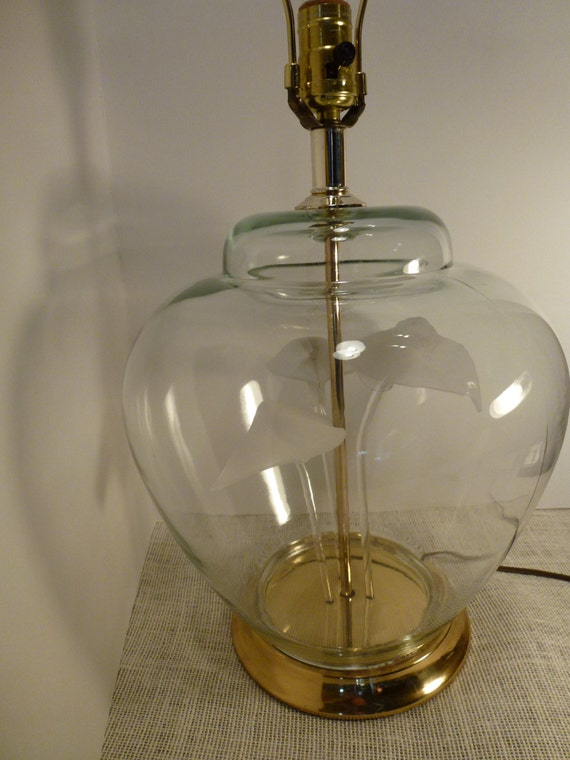 Items Similar To Ginger Jar Clear Glass Lamp 1970 Vintage