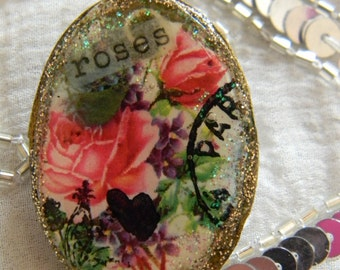 Roses Decoupage Clay Brooch