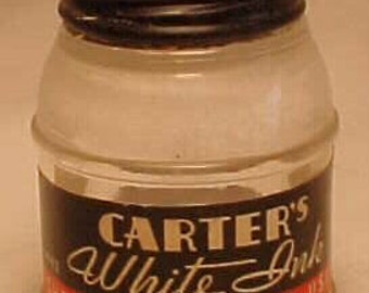 c1940s Carter's Ink White, Early White Out , screw Top Inkwell Ink Bottle with the original paper label