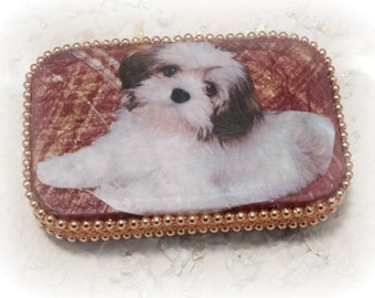 Credit Card Case, Business Card Case, Cigarette Case, Memory Box, Keepsake Box, Trinket Box, Mixed Media, Puppy, Red, Altered Altoid Tin box