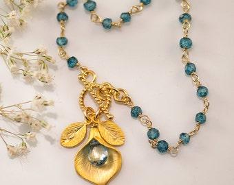 Friendship Bracelet - December Birthstone Bracelet - Blue Topaz Bracelet - Personalized Bracelet -Toggle Bracelet - Calla Lilly