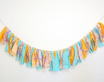Aqua Blue Turquoise and Orange Scrap Fabric Rag Tassel Fabric Rag Banner Baby Photography Prop Birthday Party Decoration Cake Smash