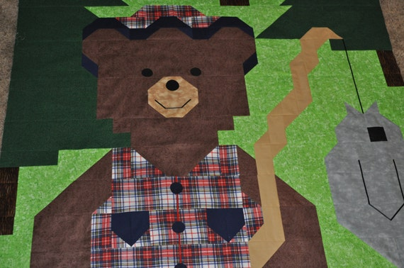 Quilt Pattern for a Fishing Bear - PDF