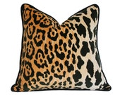 Leopard Velvet with Black Piping - Designer Pillow Cover (Made-to-Order)
