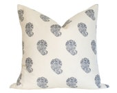 Bangalore Paisley Navy - Quadrille China Seas - Designer Pillow Cover (single-sided) 10x18