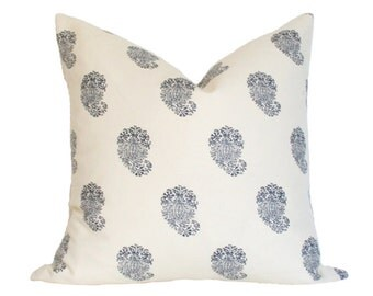 Bangalore Paisley Navy - Quadrille China Seas - Designer Pillow Cover FLAWED AS-IS 20x20