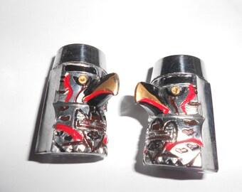 Inuit Totem Pole Shaker Set Vintage Eagle Detail Mid Century Canada Souvenir Painted Metal
