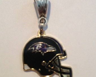 Baltimore RAVENS HELmeT, CHOOSE Silver or Gold Bail European Charm- Fits most Name Brand Big-hole and Snake-type bracelets