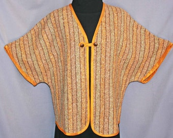 Gold and tan hand woven silk jacket, tussah silk spring jacket