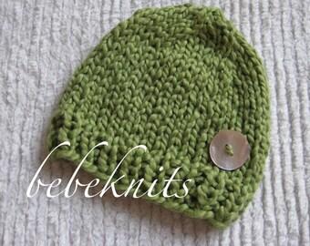 Hand Knit Organic Cotton Spring Green Newborn Hat