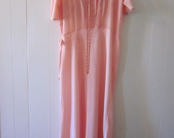 Pink Nightgown 1940s Long Bias Fishtail Custom Made Hand Embroidered and Smocked Bridal Trousseau MINT