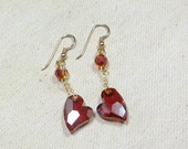Swavorski Crystal Dangle Earrings, Red Magna Dangle Earrings  Womens Jewelry, Everyday Jewelry, Gold Filled Ear Wires