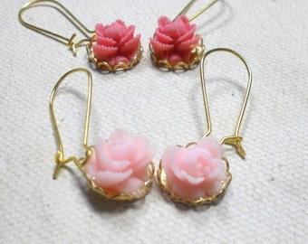 Pink Earrings, Resin Small Flower Earrings, Kidney Ear Wires, Flower Earrings, Women's Jewelry, Earring Set