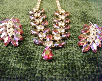 Vintage B. David Red Aurora Borealis Necklace and Clip Earring Set
