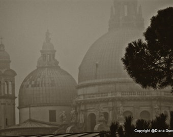 Venice Photography, Sepia Photography Church Dome in Italy, Rainy and Foggy Prints, Living Room Wall Art, Gifts for Travelers