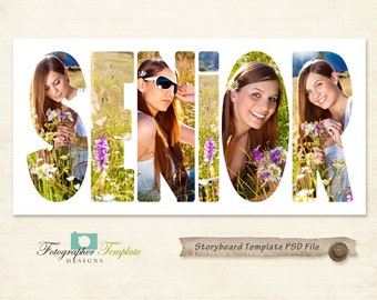 Senior Photography Storyboard Templates 10x20 PSD Photoshop Template for Photographers - S108