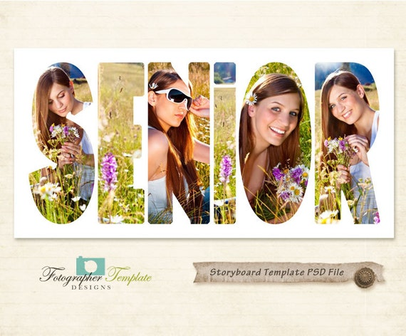 Senior photography storyboard templates by for Free senior templates for photoshop