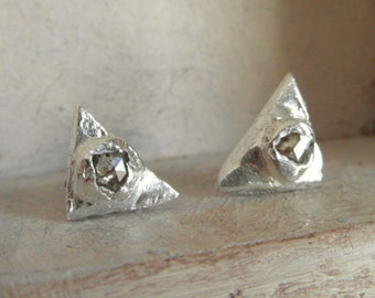 Raw Rough uncut Diamond  Stud Earrings-post back- pave stone-organic silver