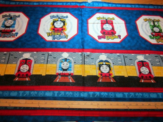 Who 39 s that engine thomas the train 24 x 44 cotton fabric for Train print fabric